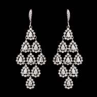 Bold Silver Crystal Chandelier Bridal Earrings