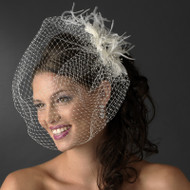 Bridal Birdcage Veil with Feather Fascinator Comb - sale!