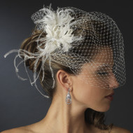 White Bridal Birdcage Veil with Feather Fascinator Comb - sale!