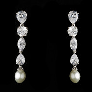 Breathtaking Cubic Zirconia and Pearl Bridal Earrings