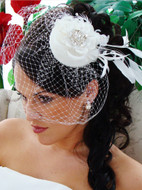 Vintage Look Couture Bridal Hat with Birdcage Wedding Veil