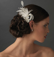 Breathtaking Rhinestone and Feather Bridal Fascinator - sale!