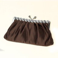 Brown Satin Evening Bag with Crystal Trim