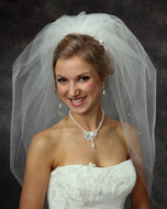 JL Johnson Bridal Bubble Wedding Veil with Rhinestones V5100