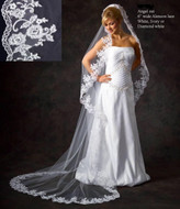 JL Johnson Bridal V4837 Cathedral Alencon Lace Mantilla Veil