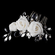Chiffon Flower Bridal Comb with Crystals in White or Ivory -on sale!