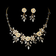 Champagne Porcelain Floral Gold Plated Bridal Jewelry Set