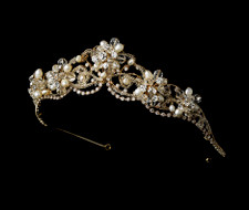 Couture Gold Plated Freshwater Pearl and Crystal Bridal Tiara