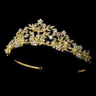 Couture Gold Plated Crystal and Pearl Bridal Tiara