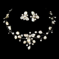 Couture Keshi Pearl and Rhinestone Bridal Jewelry Set