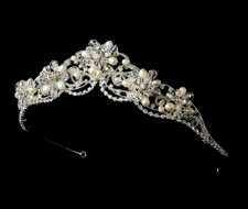 Couture Silver Plated Freshwater Pearl and Crystal Bridal Tiara