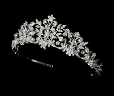 Couture Silver Crystal and Pearl Bridal and Quinceanera Tiara