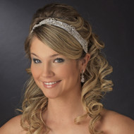 Crystal Accented Bridal Satin Ribbon Headband