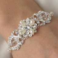 Crystal and Freshwater Pearl Silver Bridal Bracelet