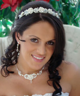 Crystal and Pearl Wedding Tiara and Matching Jewelry