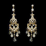 Crystal and Rhinestone Gold Chandelier Earrings