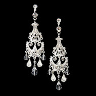 Elegant Crystal and Rhinestone Silver Chandelier Earrings