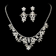 Silver Plated Crystal Floral Wedding Jewelry Set