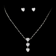 Crystal Heart Drop Wedding Jewelry Set