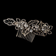Crystal Leaf Antique Silver Bridal Comb c593