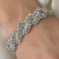 Antique Silver Crystal Swirl Stretch Bridal Bracelet