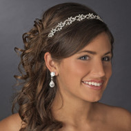 Crystal and White Pearl Wedding Vine Headband