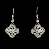 Intricate Cubic Zirconia Hook Vintage Look Wedding Earrings