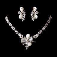 Stunning Cubic Zirconia and Pearl Wedding Jewelry Set