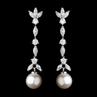 Cubic Zirconia and Pearl Drop Bridal Earrings