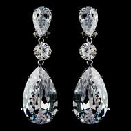 Bold Cubic Zirconia Drop Pierced or Clip On Bridal Earrings