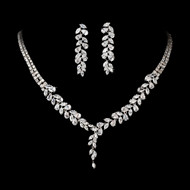 Glamorous Cubic Zirconia Drop Wedding Jewelry Set - on sale!