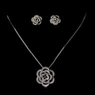 Cubic Zirconia Floral Bridal Jewelry Set