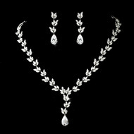 Cubic Zirconia Leaf Vine Design Bridal Jewelry Set