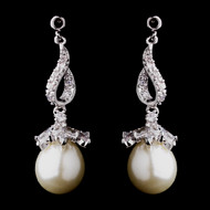 CZ and Ivory Pearl Drop Wedding Earrings