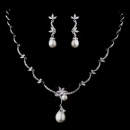 Regal CZ and White Pearl Bridal Jewelry Set