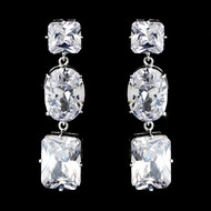 Glamorous CZ Bridal or Prom Drop Earrings