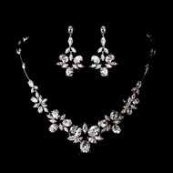 CZ Bridal Necklace and Chandelier Earrings - sale!
