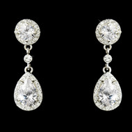 CZ Silver Plated Bridal Earrings - Pierced or Clip On