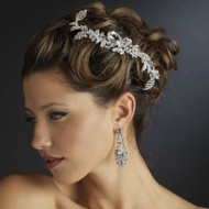Dazzling Rhinestone and Crystal Leaf Wedding Side Comb