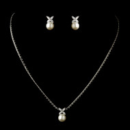 Diamond White Pearl and Marquise CZ Wedding Jewelry Set