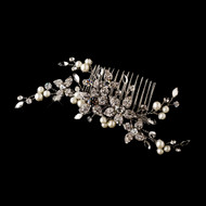 Diamond White Pearl and Rhinestone Floral Bridal Comb