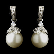 Diamond White Pearl and CZ Wedding Earrings