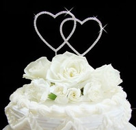 Small Double Heart Silver Plated Crystal Wedding Cake Topper
