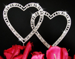 Vintage Elegance Small Crystal Double Heart Cake Topper