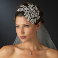 Dramatic Wedding Headband and CZ Jewelry Set