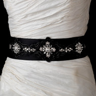 Elaborately Beaded Black Satin Wedding Dress Belt Sash - sale!