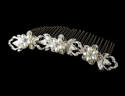 Elegant Crystal and Pearl Bridal Hair Comb - sale!