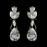 Silver Plated Cubic Zirconia Earrings - Pierced or Clip On