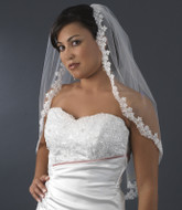 Elbow Length Beaded Embroidered Lace Bridal Veil