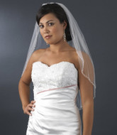 Beaded Elbow Length Bridal Veil with Baby Pearls